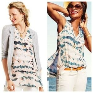 CAbi Gelato Watercolor V Neck Tunic Blouse #5035